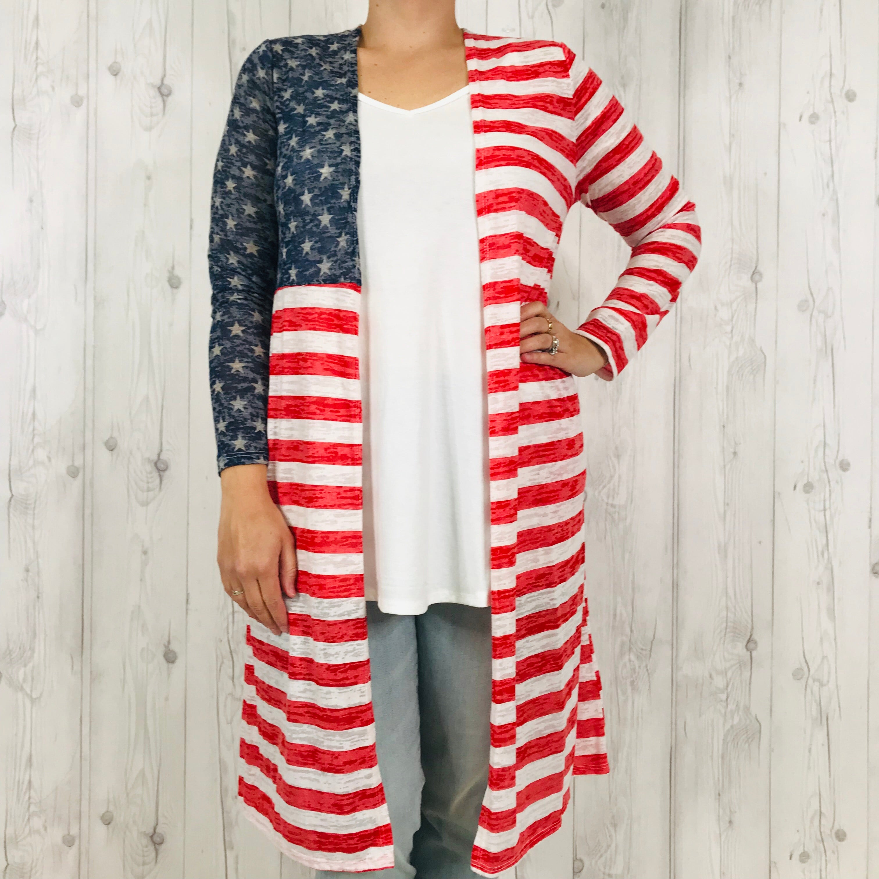 Red Star and Stripe Duster with Pockets