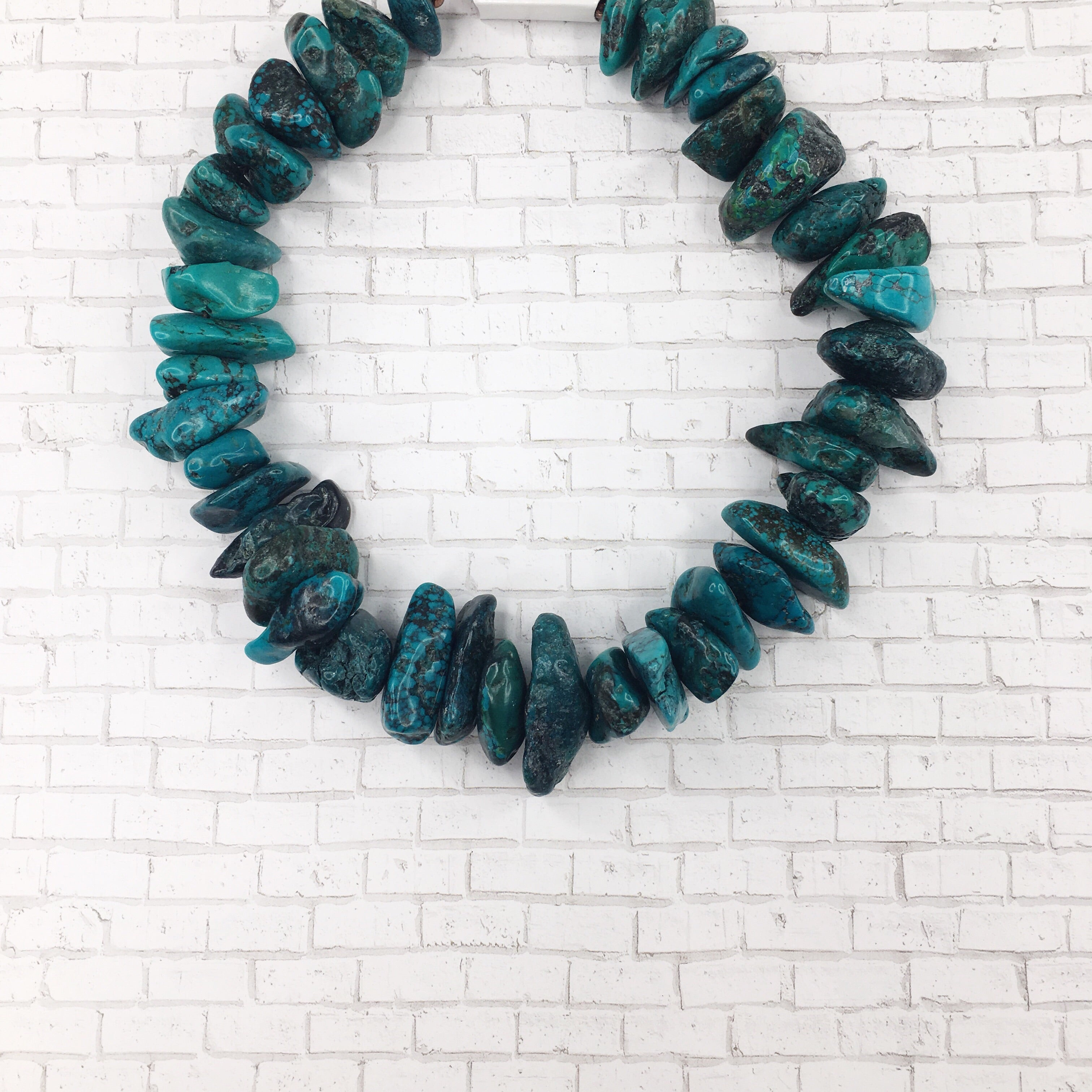 Chunky Natural Turquoise Collar Length Necklace