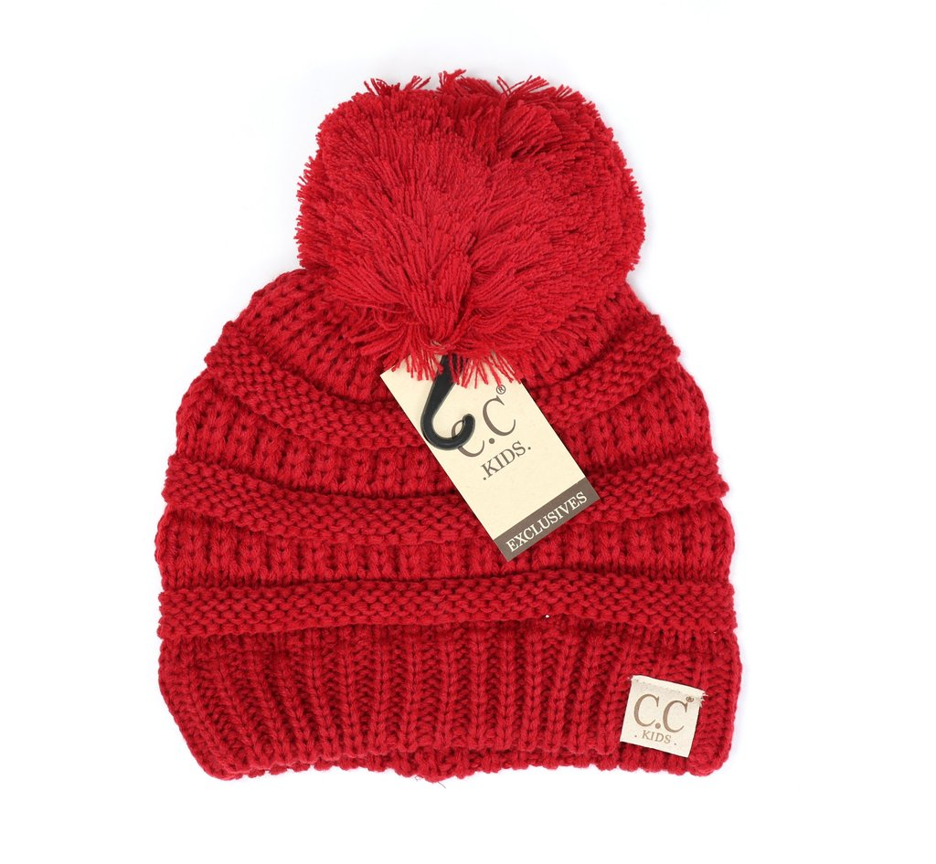 Kids Red C.C Beanie Hats