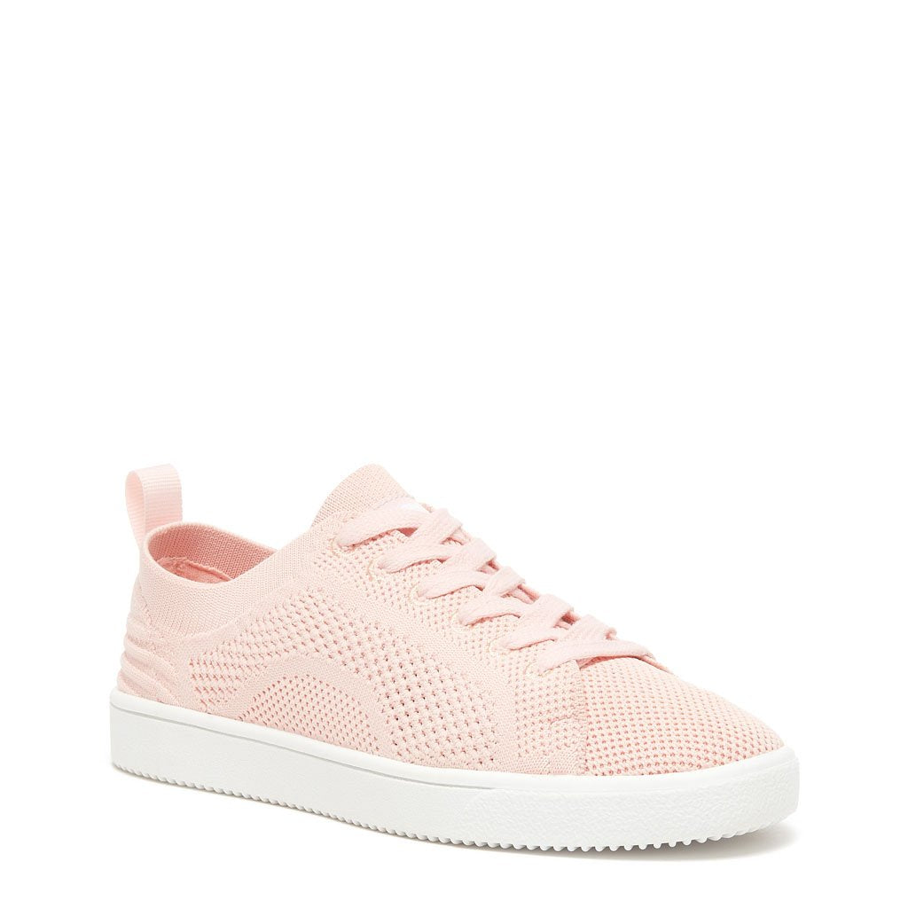 Pink Lace Up Mesh Sneaker With Memory Foam