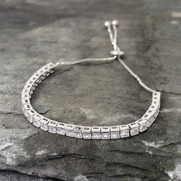 Silver Square Cut Adjustable Friendship Bracelet