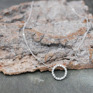 Sparkly Silver Circle Necklace