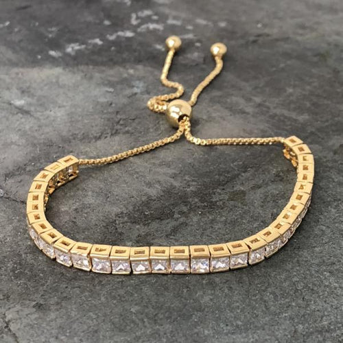 Gold Square Cut Adjustable Friendship Bracelet