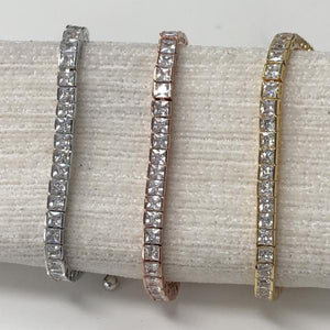 Rose Gold Square Cut Adjustable Friendship Bracelet