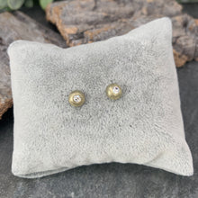 Load image into Gallery viewer, Brushed Gold Diamanté Studs