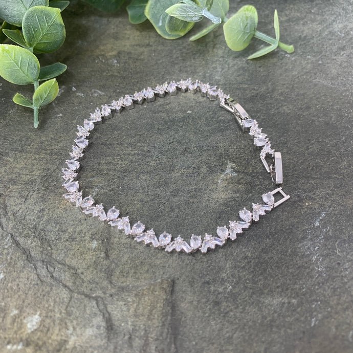 Pear and Baguette Stone Tennis Bracelet