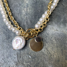 Load image into Gallery viewer, Gold & Pearl Double Necklace Set