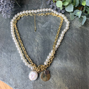 Gold & Pearl Double Necklace Set