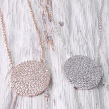Load image into Gallery viewer, Rose Gold Pavé Disc Necklace