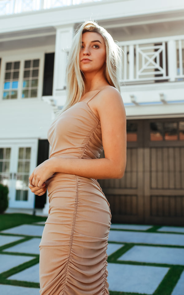 Ruche Dress - Nude