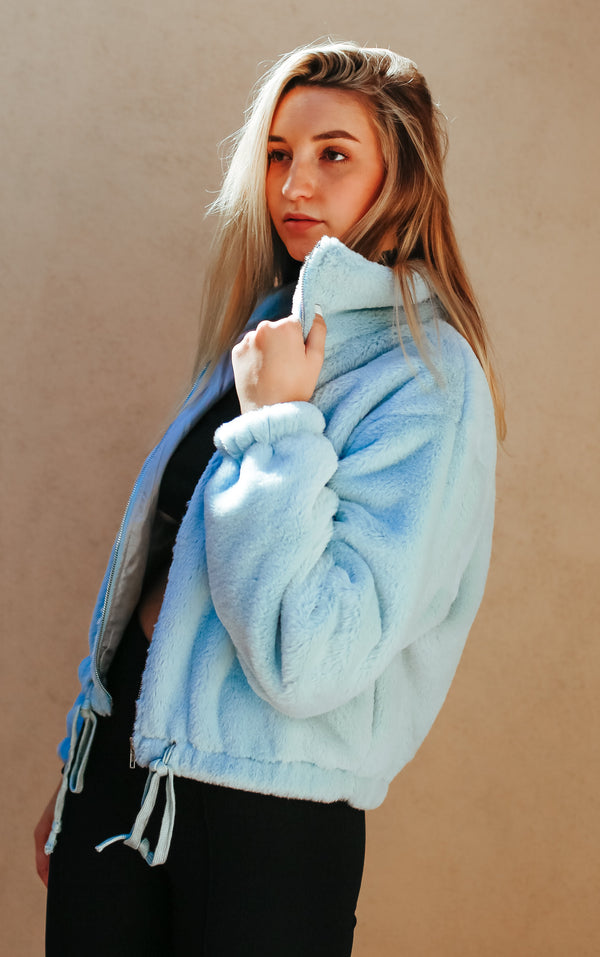 Not Fake But Faux Bomber - Baby Blue