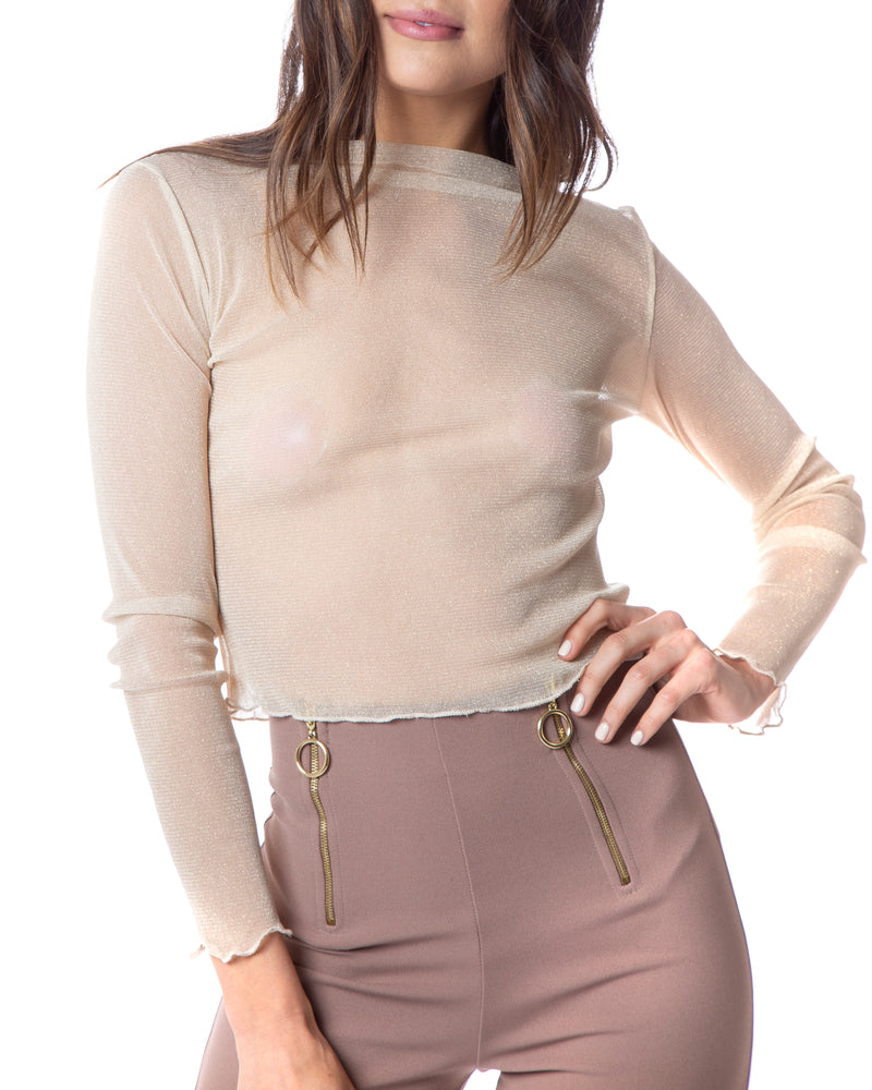 See Through Me Top - Gold