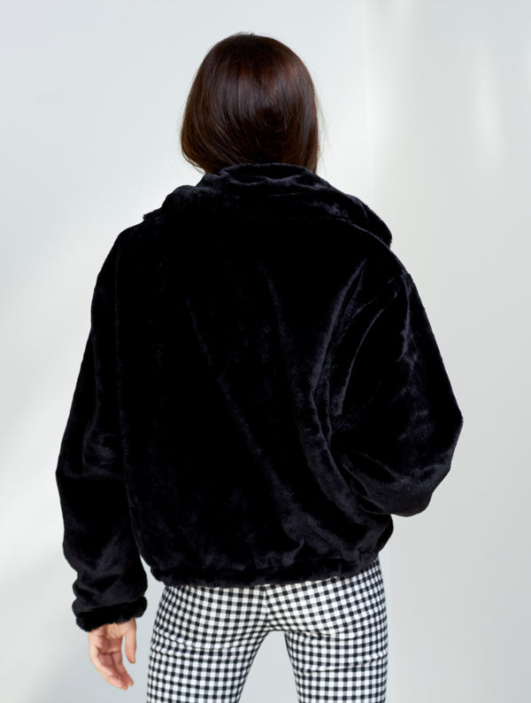 Not Fake But Faux Bomber - Black