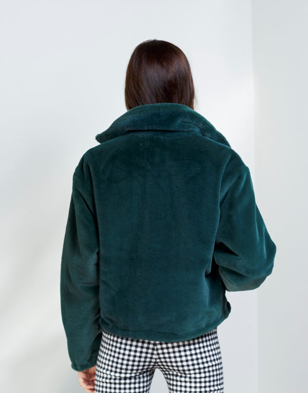 Not Fake But Faux Bomber - Hunter Green