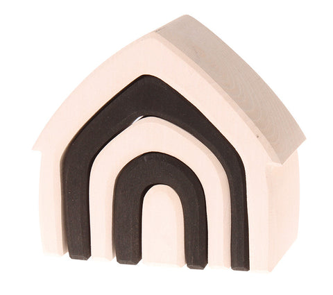 grimms monochrome wooden stacking house