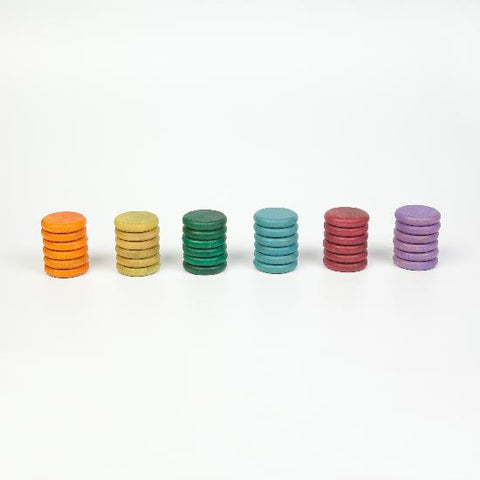 grapat wood coloured coins 36 pcs - no basic colours
