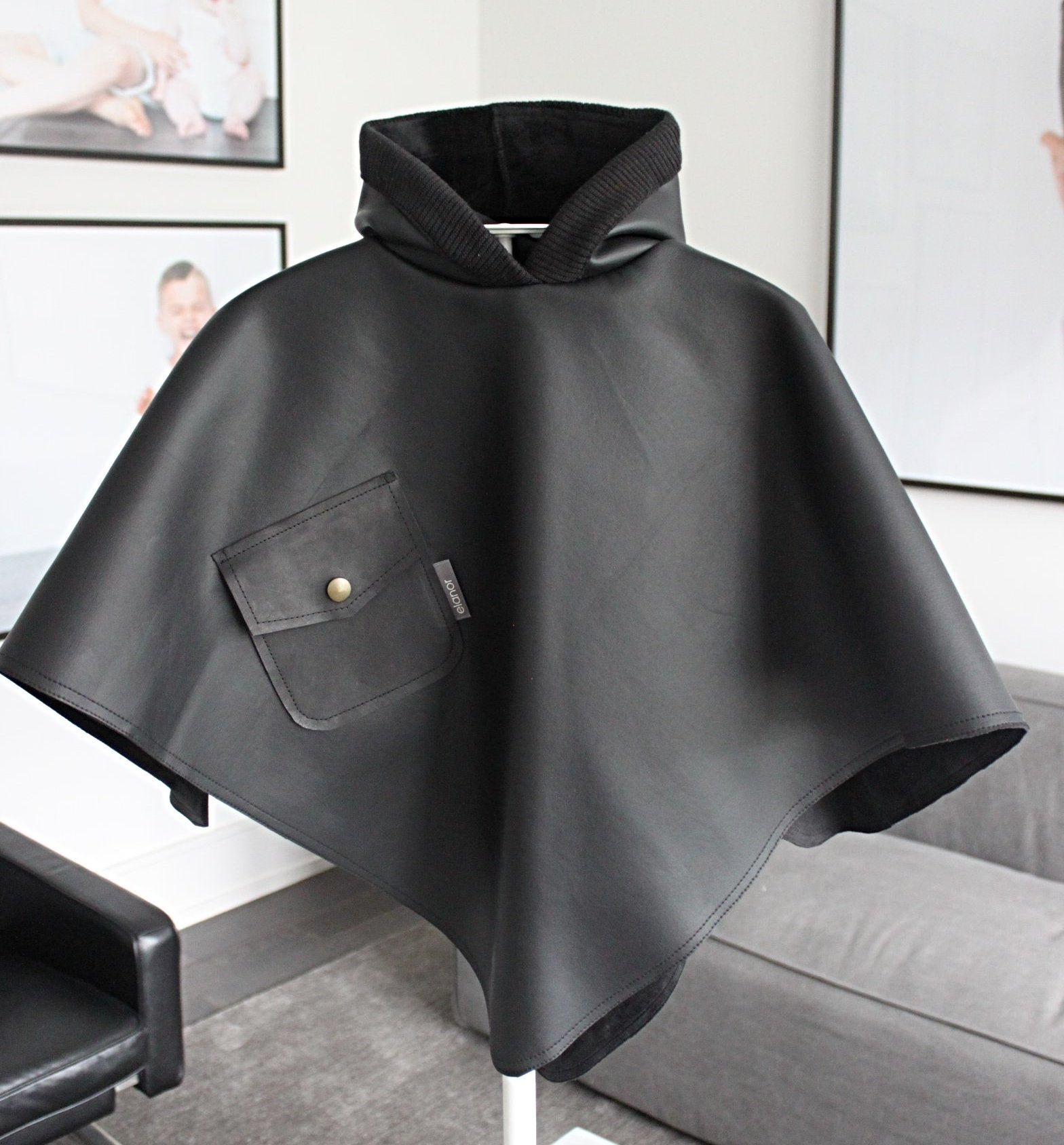 luxe faux leather hooded poncho