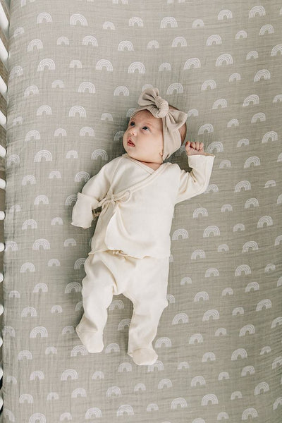 sand rainbow muslin crib sheet by mebie baby