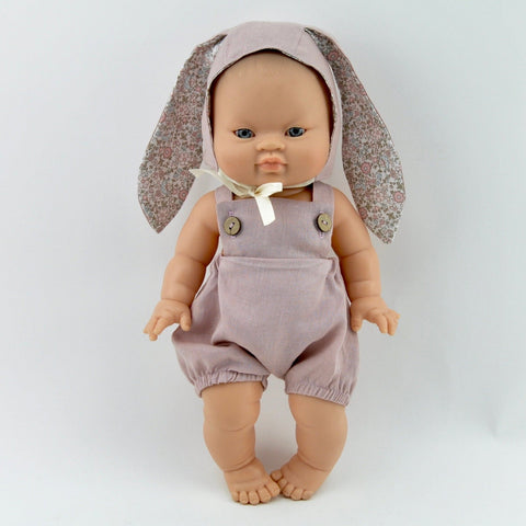 linen bunny bonnet + romper set for 32/34/38 cm doll
