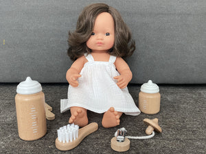 NEW miniland doll brunette european girl 38 cm