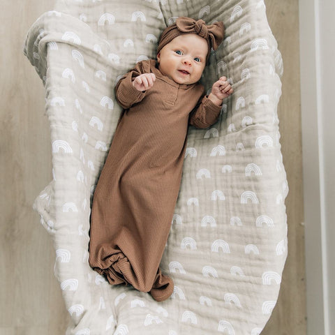 sand rainbow muslin swaddle blanket by mebie baby