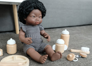 NEW miniland doll African American girl with Down Syndrome 38 cm
