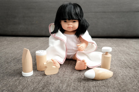 wooden doll care set by Astrup