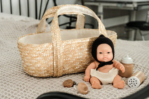 braided doll bassinet by astrup