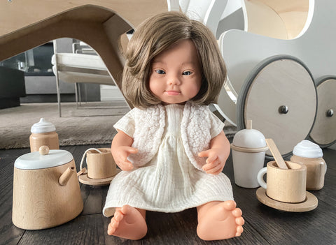 Preorder miniland doll European girl with Down Syndrome 38 cm