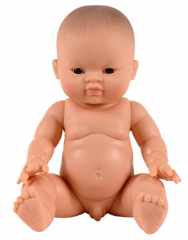 paola reina 34 cm asian boy doll, dark eyes