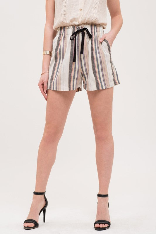Counting On You - Striped Woven Shorts