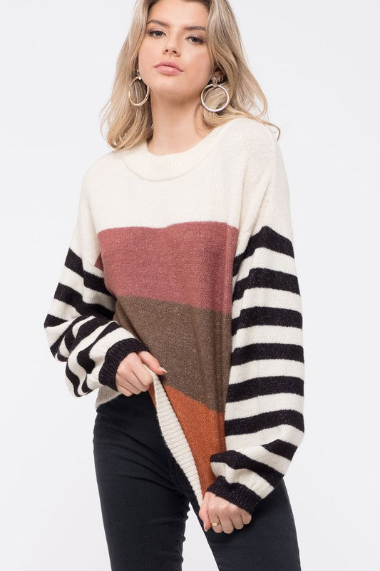 "The ""Sasha"" Striped  Bell Sleeve Sweater"