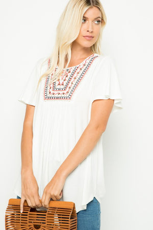 The Staple Boho - Embroidered Top