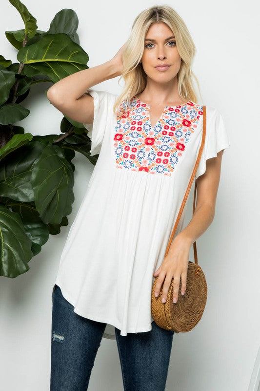 Reasons Why - Short Sleeve Embroidered Top