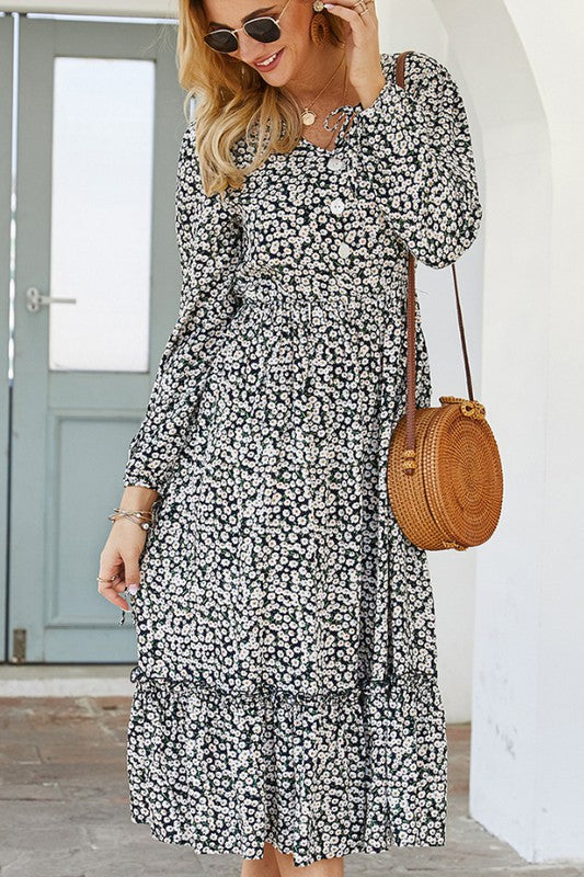 Darling Delight - Navy Floral Print Maxi Dress