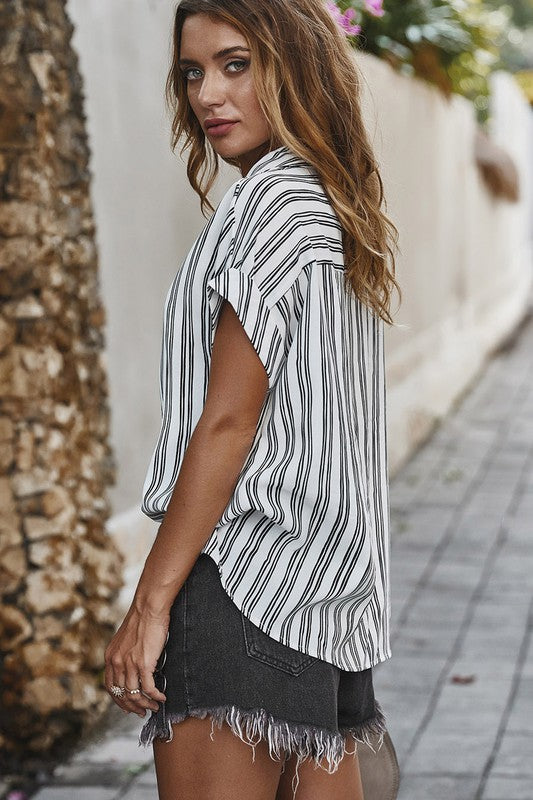 Look the Other Way - Boyfriend Button Down Top