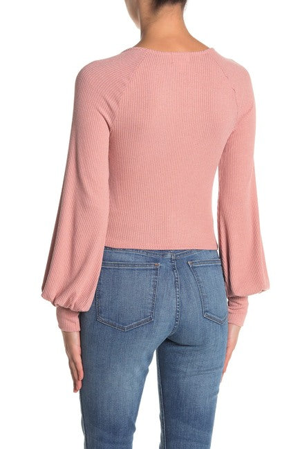 Look For This Blush - Long Sleeve Square Neck Top