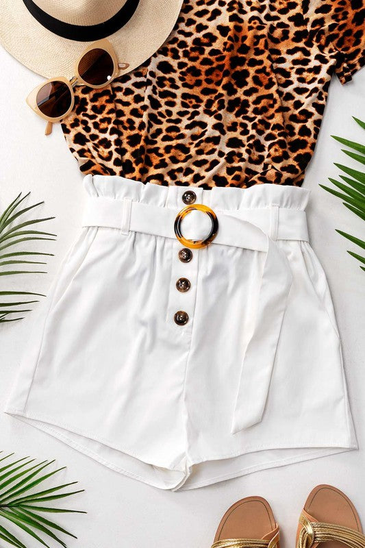 On A Roll - Belted Paperbag Shorts
