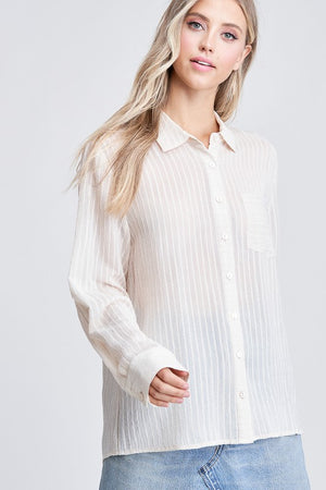 Simple Transitions - Sheer Button Down Blouse