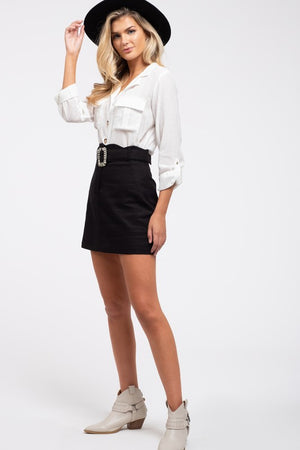 Sweet As You - Belted Woven Skirt