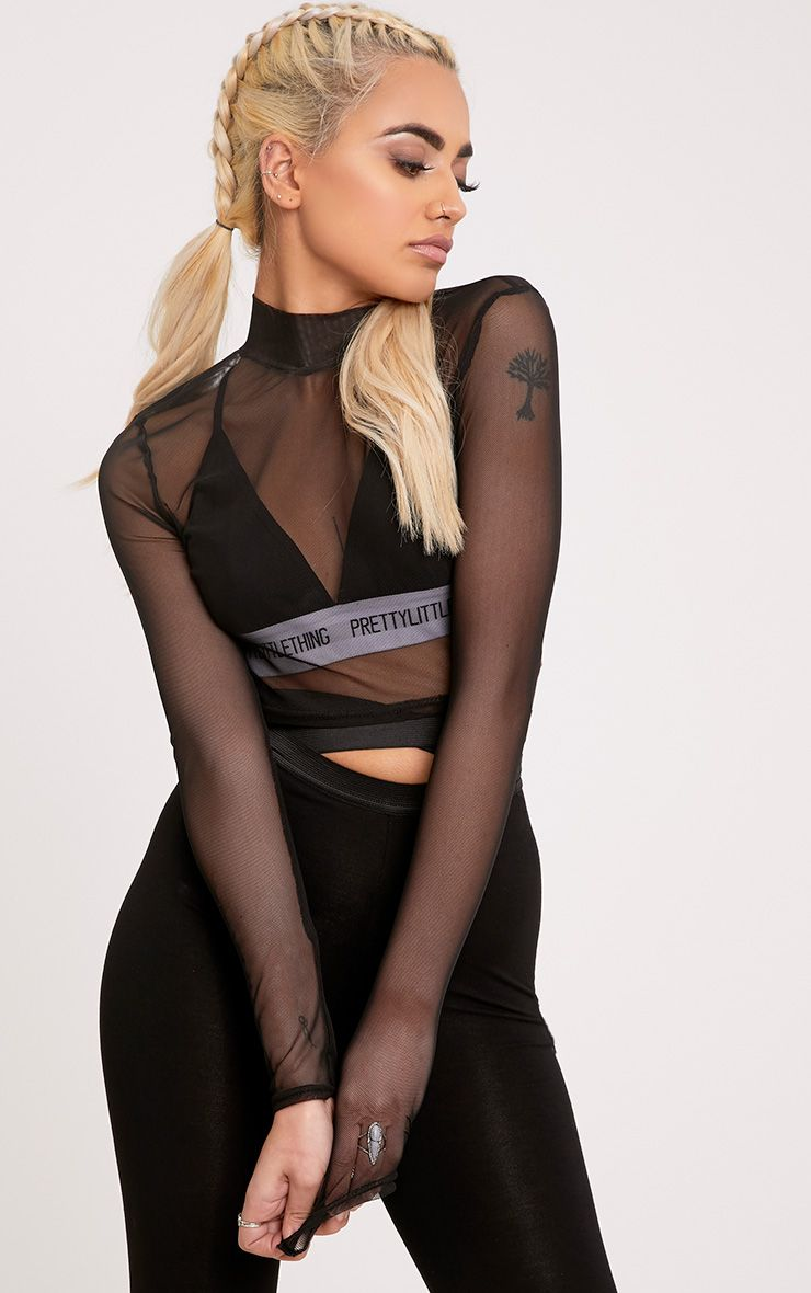 Meet Behind the Bleachers - Black Mesh Cropped Shirt