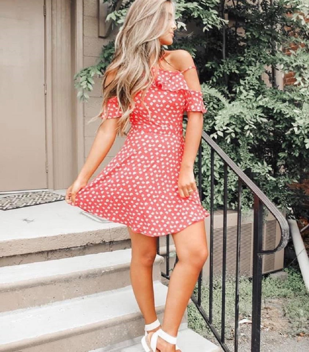What A Life - Red Floral Print Mini Dress