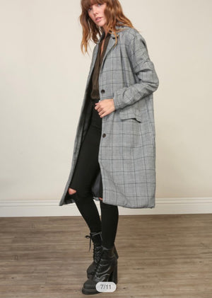 Another Chance - Long Line Plaid Jacket