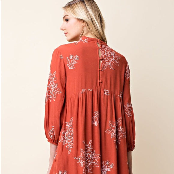 Always Trending - Embroidered Swing Dress