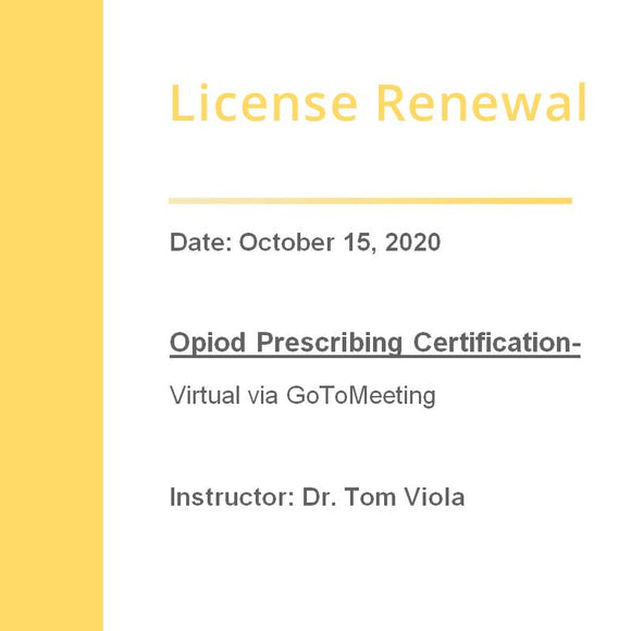 Opiod Prescribing Certification