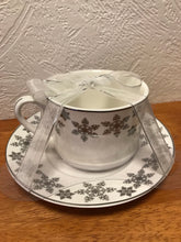 Load image into Gallery viewer, Silver Snowflake Tea Cup and Saucer