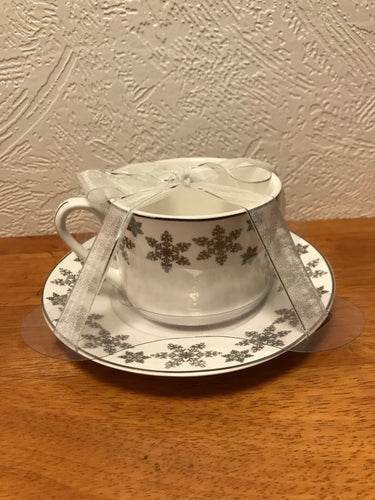 Silver Snowflake Tea Cup and Saucer