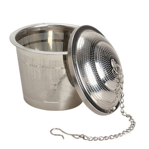 Open image in slideshow, Stainless Steel Mesh Loose Leaf Tea + Spice Infuser with Lid