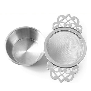Stainless Steel Double Handle Lace Tea Strainer
