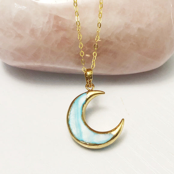 Blue Shell Moon Necklace- Gold - Mindful Intentions